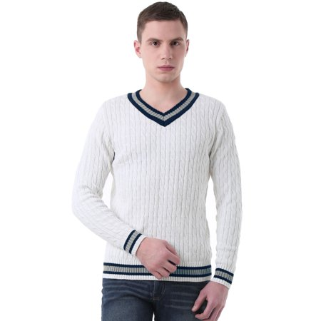 V-neck All Over Cable Sweater (Unique Bargains Men's Long Sleeves V Neck Cable Pattern Pullover)