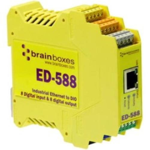 Brainboxes Ed-588 Ethernet To Digital Io 8 Inputs   8 Outputs - 1 X Network [rj-45] - 1 X Serial Port - Fast Ethernet - Rail-mountable (ed-588)