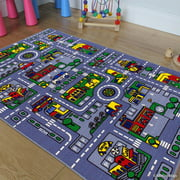 """Allstar Kids / Baby Room Area Rug. City Map. Urban. Streets with Vibrant Colors (3' 3"""" x 4' 10"""")"""