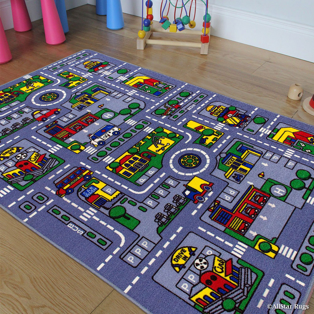 "Allstar Kids / Baby Room Area Rug. City Map. Urban. Streets with Vibrant Colors (3' 3"" x 4' 10"")"