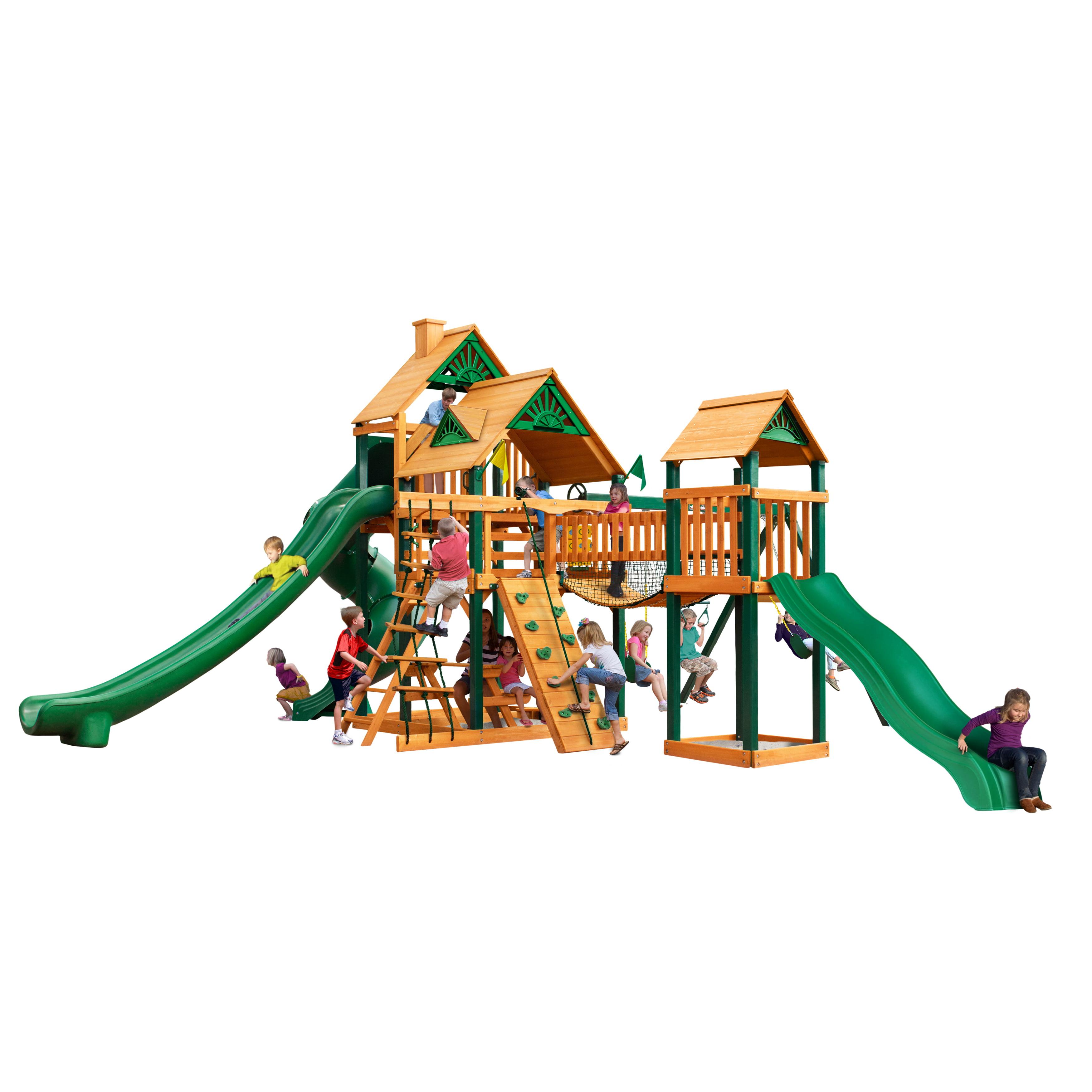 Gorilla Playsets Treasure Trove II Cedar Swing Set w/ Timber Shield™ Posts