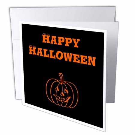 3dRose Happy Halloween Orange and Black Pumpkin, Greeting Cards, 6 x 6 inches, set of - Happy Halloween Card