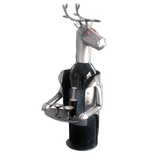H & K SCULPTURES Reindeer Wine Bottle Holder