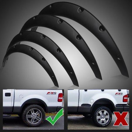 4x Black Universal Fender Flares Flexible Durable Polyurethane Auto Car Body Kit - image 1 of 7