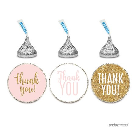 Signature Blush Pink, White, Gold Glittering Party Collection, Chocolate Drop Labels Stickers, Thank You, 216-Pack
