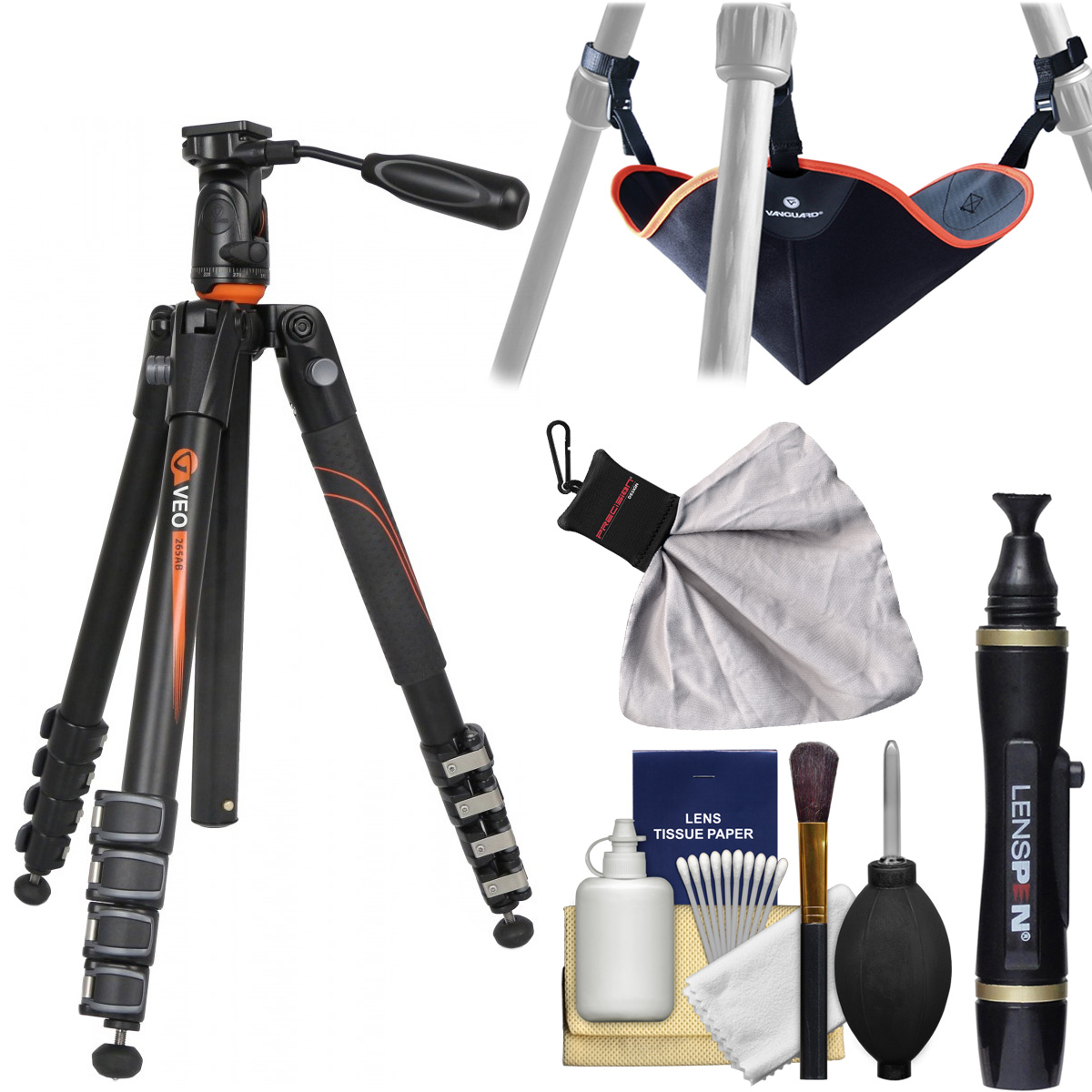 "Vanguard VEO 235AP 57"" Aluminum Tripod with PH-25 Pan Head & Case with Stone Bag   Cleaning Kit"