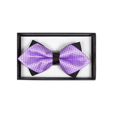 Men's Lavender Geometric Diamond Tip Bow Tie - DBB3030-32 ()