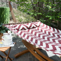 Island Bay 13 ft. Chevron Stripe Quilted Hammock with Wood Arc Stand