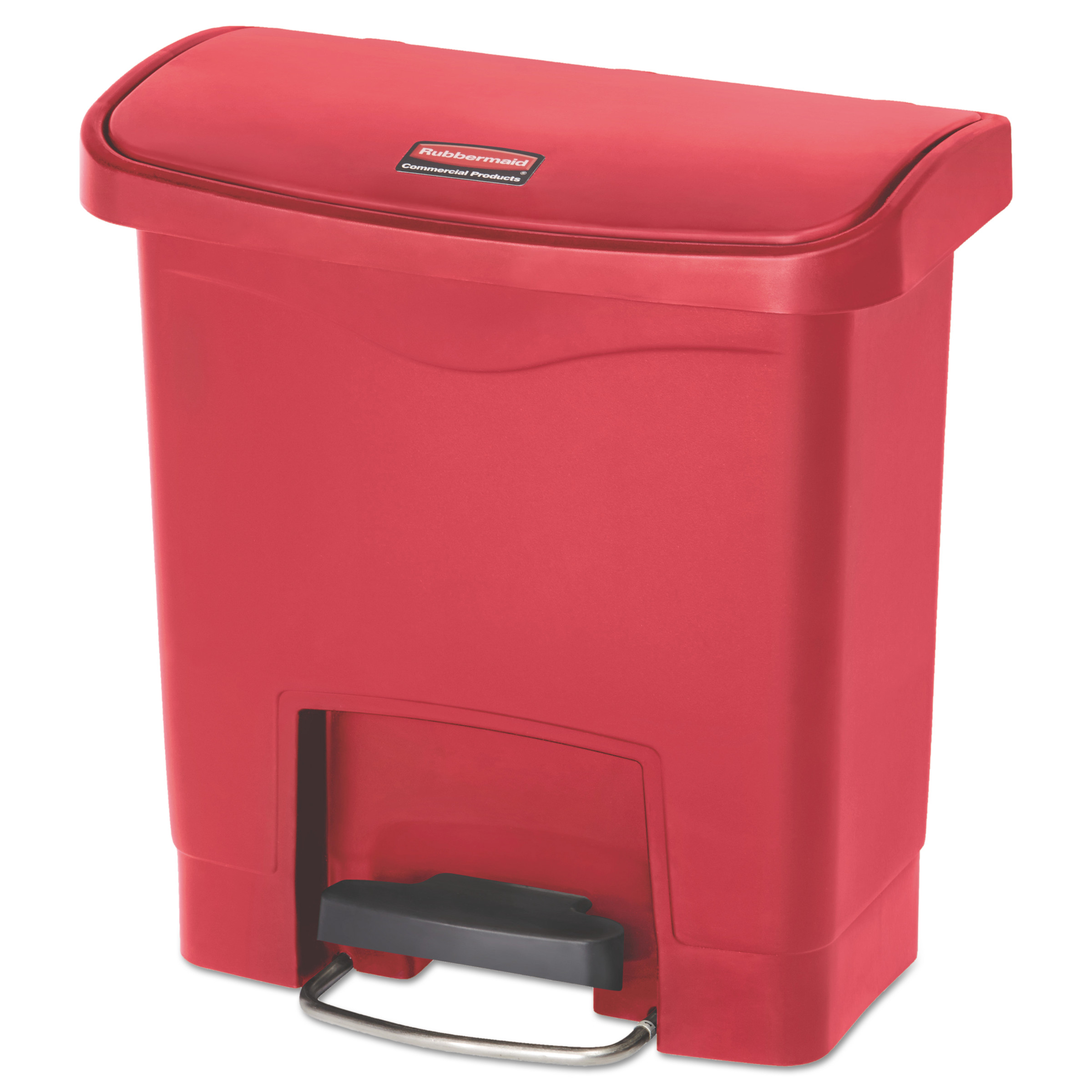 Rubbermaid Commercial Slim Jim Resin Step-On Container, Front Step Style, 4 gal, Red