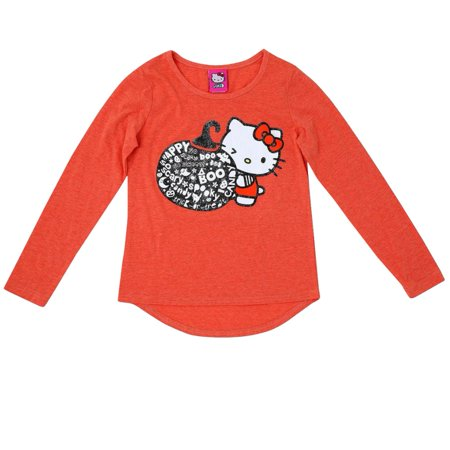 Sanrio Girls Orange Hello Kitty Halloween Shirt Glitter Boo Pumpkin Tee Top