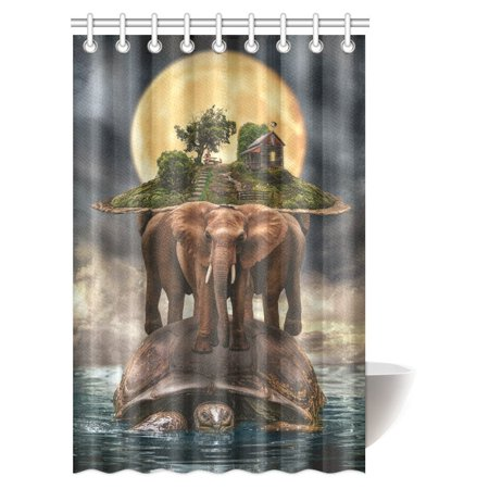MYPOP Mythological Representation of the Planet Earth Shower Curtain, Turtle Carrying Elephants with the Earth on Their Backs Fabric Bathroom Set with Hooks, 48 X 72