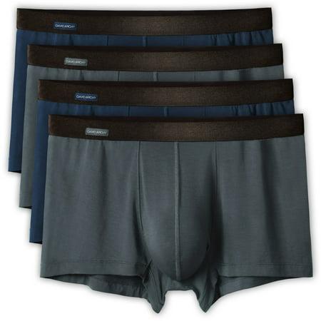 David Archy Men's 4 Pack Basic Solid Ultra Soft Underwear Bamboo Rayon Trunks (Bamboo Underwear)