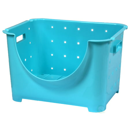 "Basicwise ""Stackable Plastic Storage Container, Blue Stacking Bins"""