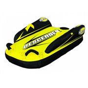 Sports Stuff Inflatable Descender Snow Sled with Side Stabilizer Wings, Yellow
