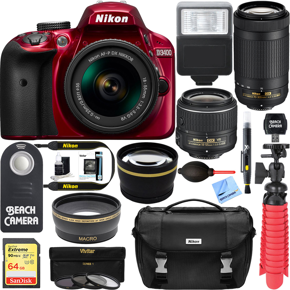 Nikon D3400 24.2 MP DSLR Camera AF-P DX 18-55mm VR & AF-P DX 70-300mm ED Lens 64GB SDXC Memory Photo Bag Wide Angle Lens 2x Telephoto Lens Flash Remote Tripod Filters Digital SLR Camera (Red)