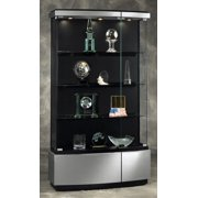 Quantum Full Floor Display Case in Brushed Silver Finish