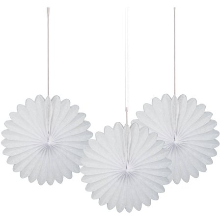 White Tissue Paper Fan Decorations, 6in, 3ct](Chinese Paper Fan)