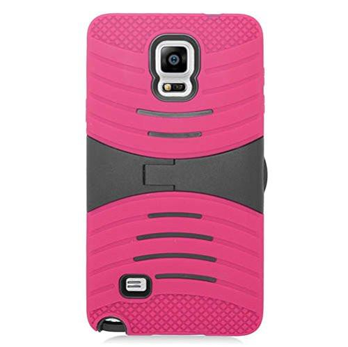 Galaxy Note 4 Case, Dual Layer Full Body Coverage Case with Built-in Kickstand for Samsung Galaxy Note 4 - Hot Pink