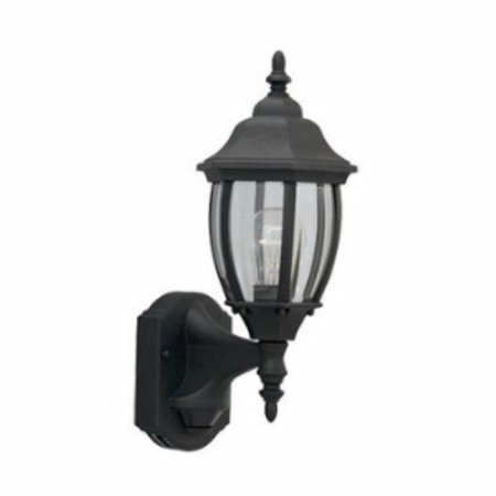 Designers Fountain 1 Light Outdoor Motion Detector Wall Lantern, Black - Clear Beveled