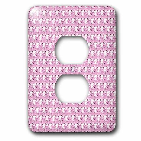 3dRose Pink Rhinestone Gem Print - 2 Plug Outlet Cover (lsp_24650_6)