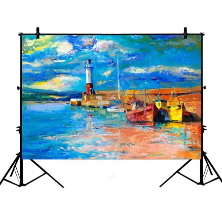 YKCG 7x5ft Sunset Beach Lighthouse Photography Backdrops Polyester Photography Props Studio Photo Booth Props