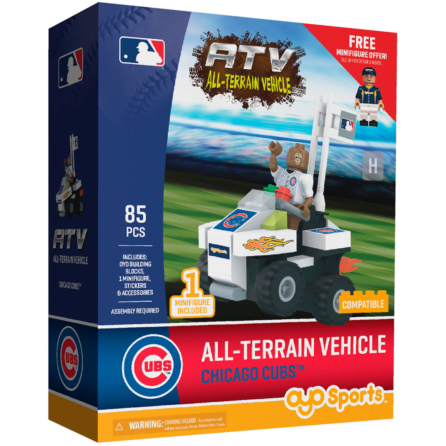 OYO Sports MLB All-Terrain Vehicle with Super Fan Building Set, Chicago Cubs