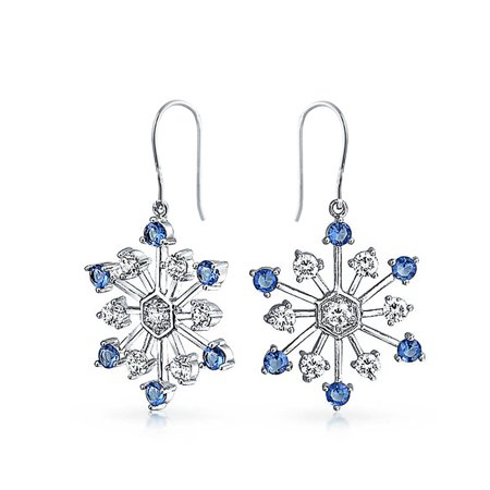 Christmas Snowflake Drop Leverback Earrings Winter Holiday Simulated Sapphire Glass CZ Rhodium Plated Brass