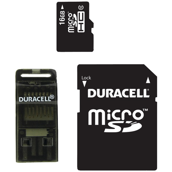 DURACELL DU-3in1C1016G-R Class 10 microSD(TM) Card with SD(TM) & USB Adapters (16GB)