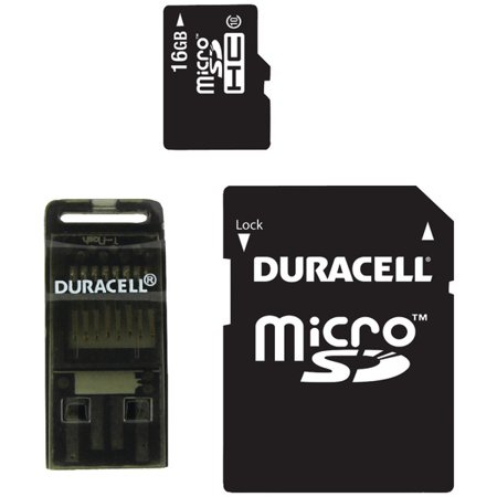DURACELL DU-3in1C1016G-R Class 10 microSD(TM) Card with SD(TM) & USB Adapters (16GB) Duracell 8 Gb Microsd