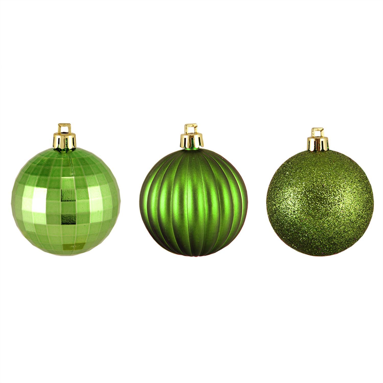 "100ct Green Kiwi 3-Finish Shatterproof Christmas Ball Ornaments 2.5"" (60mm)"