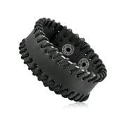 "Men's Black Leather Stitched Cuff Bracelet (28mm) - 8.25"""