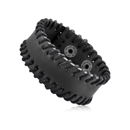Men's Black Leather Stitched Cuff Bracelet (28mm) - 8.25