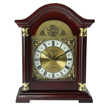 GHP Redwood oak Finish Wood Glass Antique Roman Numerals Mantel Clock with 4 Chimes