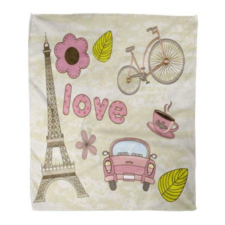 NUDECOR Throw Blanket Warm Cozy Print Flannel Paris Tower Eiffel Coffee Car Greeting Flower Comfortable Soft for Bed Sofa and Couch 58x80 Inches - image 1 of 1