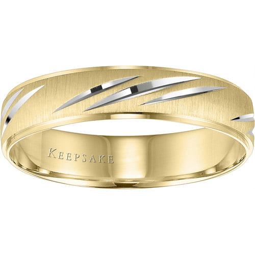 Keepsake Wonder Slashed Engraved Wedding Band in 10kt Yellow Gold by Frederick Goldman Inc.