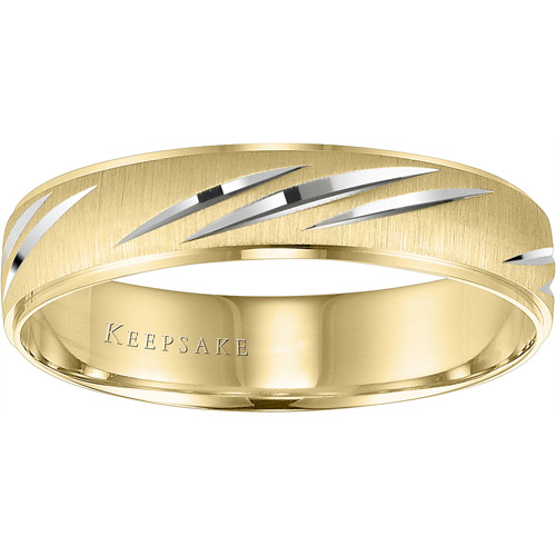 Keepsake Wonder Slashed Engraved Wedding Band in 10kt Yellow Gold