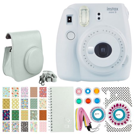 Fujifilm instax mini 9 Instant Film Camera (Smokey White) + 20 Sticker Frames for Fuji Instax Prints Animal Package + Scrapbook Album + Case with Closure + Striped Neck Strap + Colored Filters + More (Filme Halloween 20)