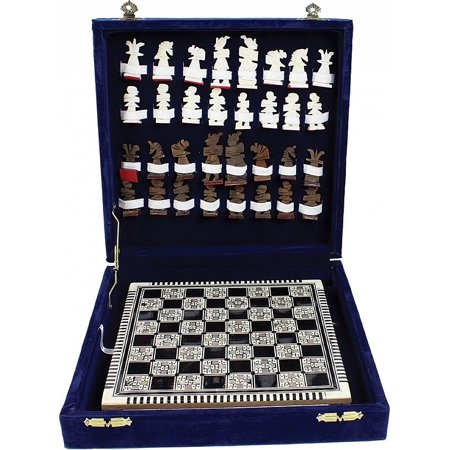 Egyptian Mother of Pearl Hand Made Chess Set [Black - (U Of A And Asu Football Game 2014)