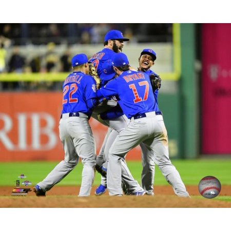 The Chicago Cubs celebrate winning the 2015 National League Wild Card Game Photo Print