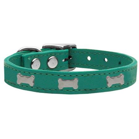 Silver Bones Leather Collar (Silver Bone Widget Genuine Leather Dog Collar Jade 14 )