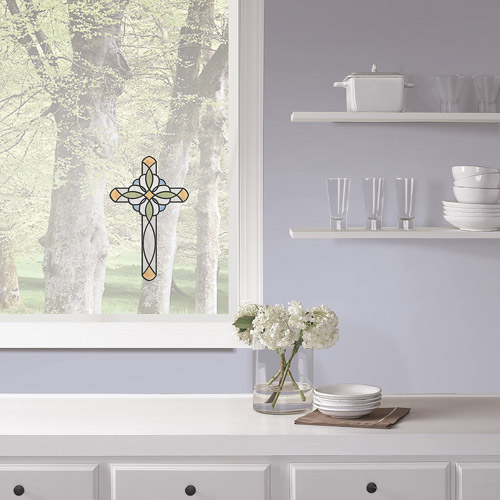 Amber Blue Cross Stained Glass Decals