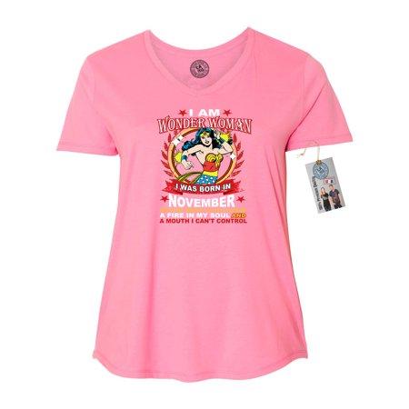Wonder Woman Born In November Superhero Plus Size Womens V Neck T-Shirt Top (Superhero T Shirts Plus Size)
