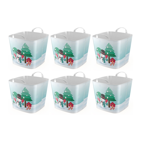 Life Story 6.6 Gallon Versatile Snowman Tub with Dual Grip Handles (6 Pack)