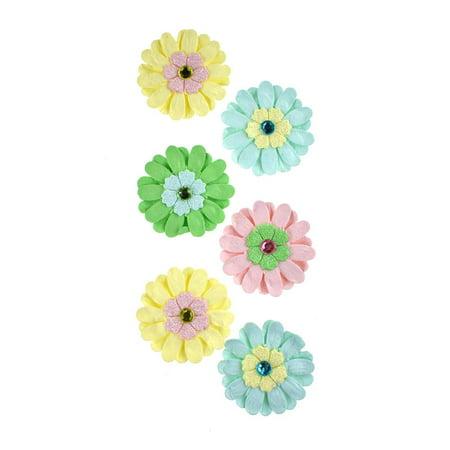 Adhesive Paper Craft Glitter Flowers, 1-1/2-Inch, 6-Piece, Luau (Luau Crafts)