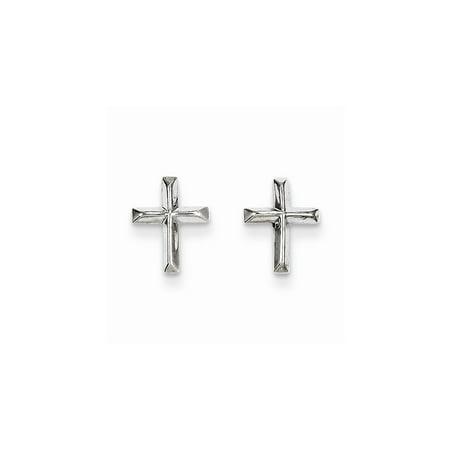 14k White Gold Cross Religious Post Stud Earrings