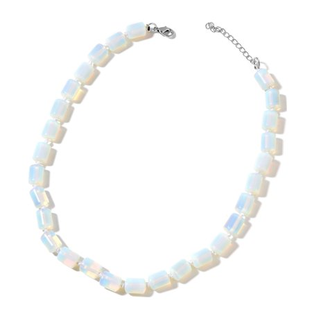 Opalite Beads 925 Sterling Silver Strand Necklace for Women Jewelry Gift 18