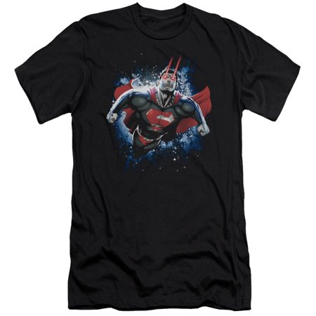 Superman Dc Com Celestial Space Flight Stardust And Eye Beams Adult Slim T Shirt