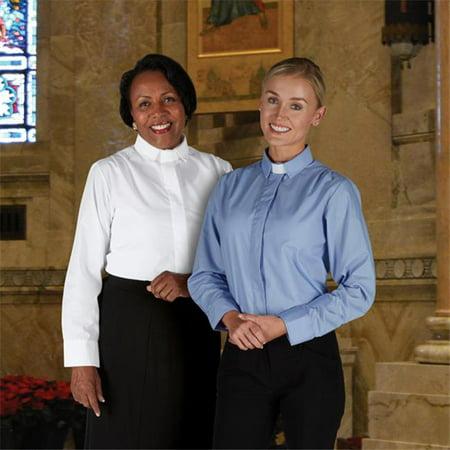 CBCS 129BLU-1X Womens Long Sleeve Tab Collar Blouse, Blue - Size 1X - image 1 of 1