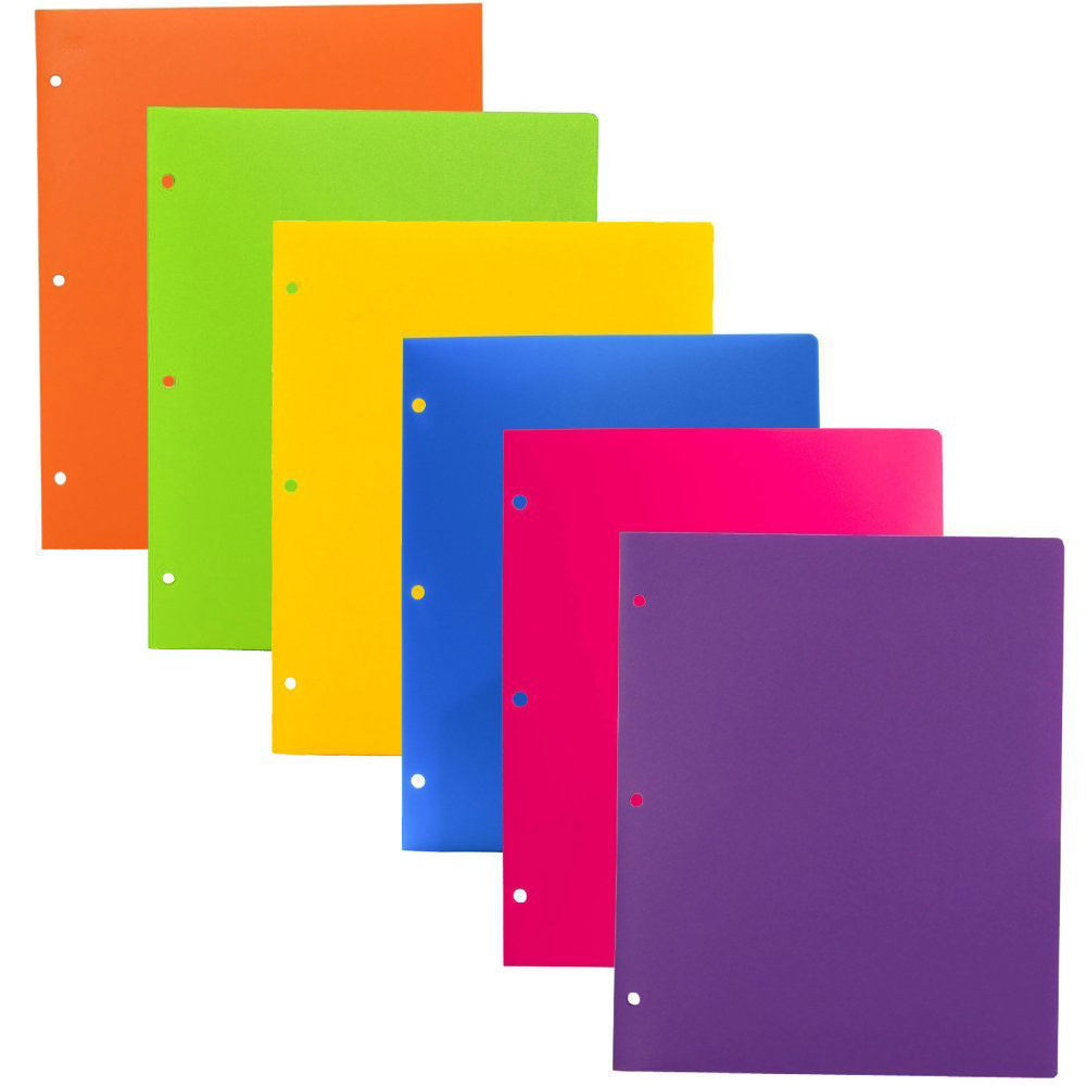 JAM Paper Heavy Duty Plastic 3 Hole Punch Folders with Pockets, Assorted Fashion Colors, 6/pack