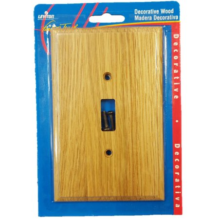 Leviton OAK Finished Wood Toggle Switch Cover Wallplate 89201-OAK ()